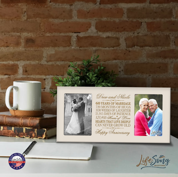 Personalized 60th Anniversary Double Photo Frame - Happy Anniversary