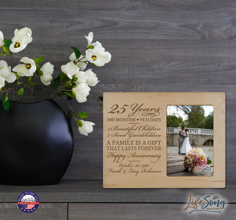 Personalized 25th Year Anniversary Photo Frame - Counting Our Blessings Maple