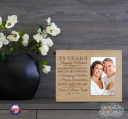 Personalized 35th Year Anniversary Photo Frame - Counting Our Blessings Maple