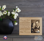 Personalized 70th Anniversary Photo Frame - Happy Anniversary Maple