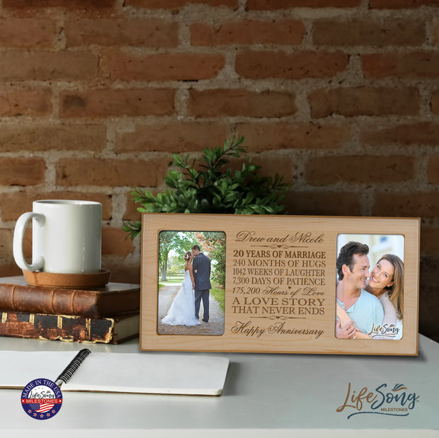 Personalized 20th Anniversary Double Photo Frame - Happy Anniversary