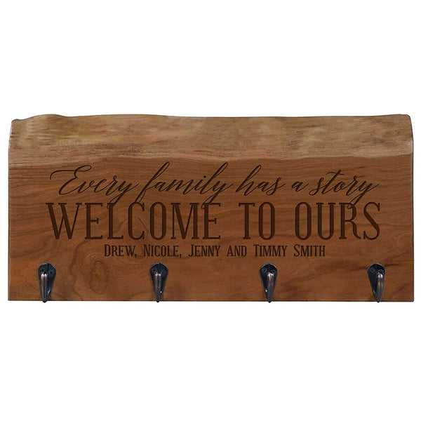 "Personalized Reclaimed Cherry Mounted Coat Rack Organized 16"" L x 7"" W x 4.25"" H"