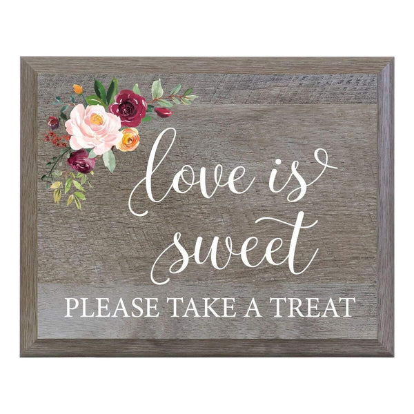LifeSong Milestones Love Is Sweet Please Take A Seat Decorative Wedding Party signs for Ceremony and Reception for Bride and Groom (8x10)