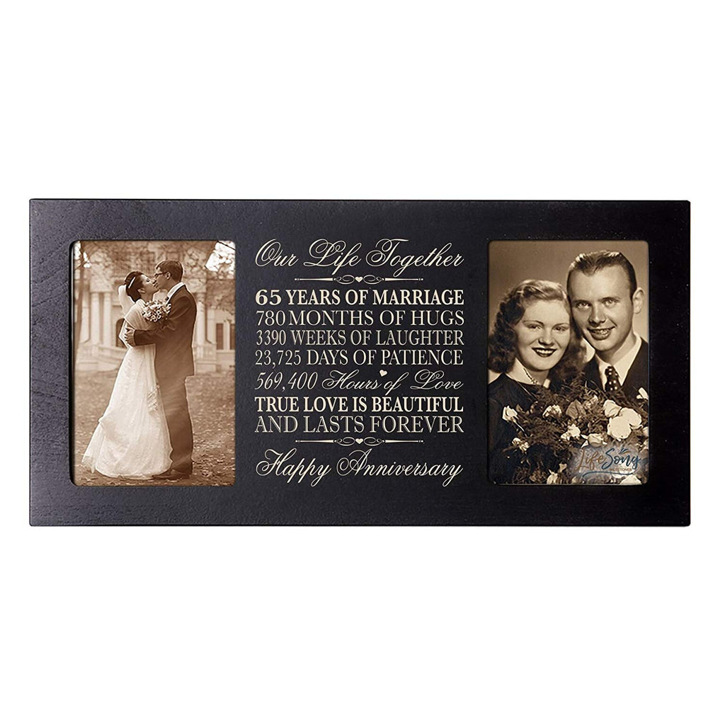 LifeSong Milestones 65th Wedding Anniversary Picture Frame Gift With Dates Holds 2 4x6 Photos