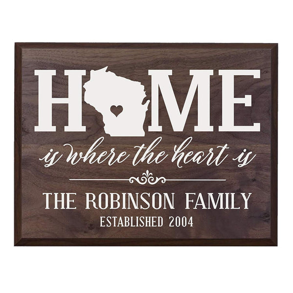 Personalized Wisconsin State Home is Where the heart is Wall sign