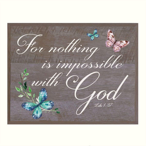 "For Nothing is Impossible with God Gift for husband wife best friend wedding annivesary gift ideas 12"" w X 15"" h Wall Plaque By LifeSong Milestones (Pine)"
