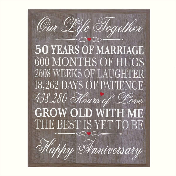 Digitally Printed 50th Anniversary Wall Decor Plaque - Our Life Barnwood