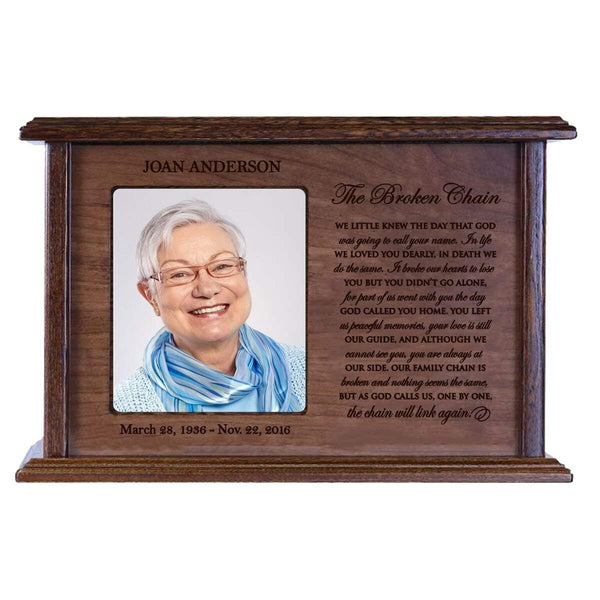 Cremation Urn for Human Ashes Made of Solid Wood Laser Engraved Verse The Broken Chain By LifeSong Milestones
