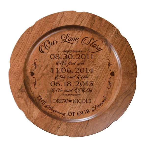 "Personalized Our Love Story Wedding Anniversary Gift for Her, Happy Anniversary for Him, 12"" plate Custom Engraved for Husband or Wife by LifeSong Milestones USA Made"