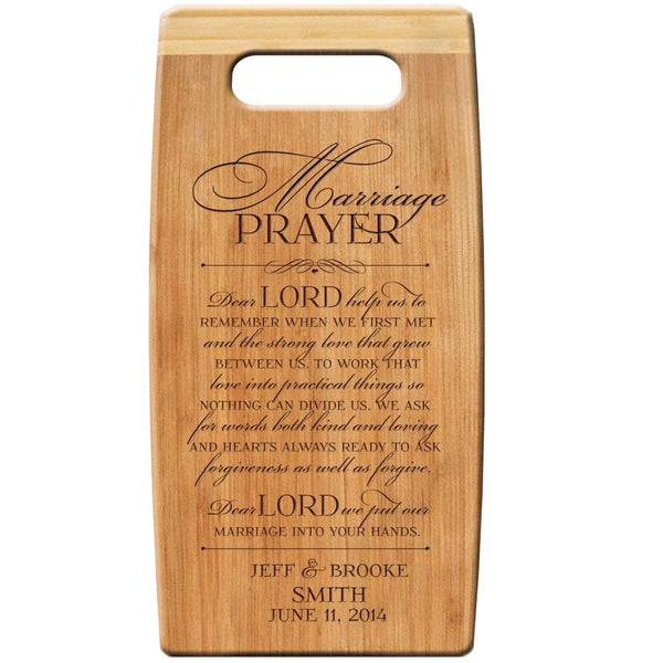 "Personalized Bamboo Cutting Board, Custom Engraved "" Marriage Prayer "" 7""x 14"" for Wedding Gift, Anniversary Gift, Housewarming Gifts"