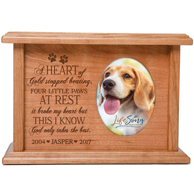 Personalized Pet Cremation Urn Box - A Heart Of Gold