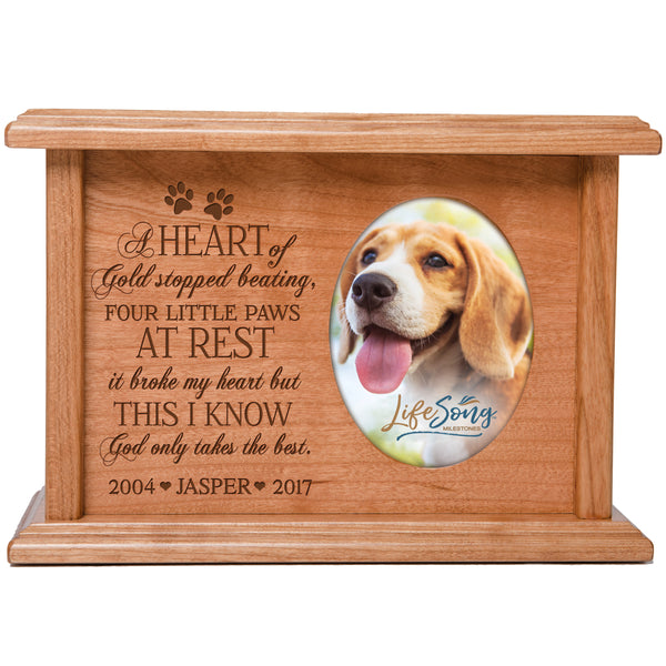 Engraved Pet Urn Holds 2x3 Photo - A Heart of Gold Stopped Beating