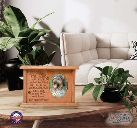 Personalized Pet Cremation Urn Box - Our Hearts Still Ache