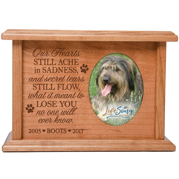 Personalized Pet Cremation Urn - Our Hearts Still Ache