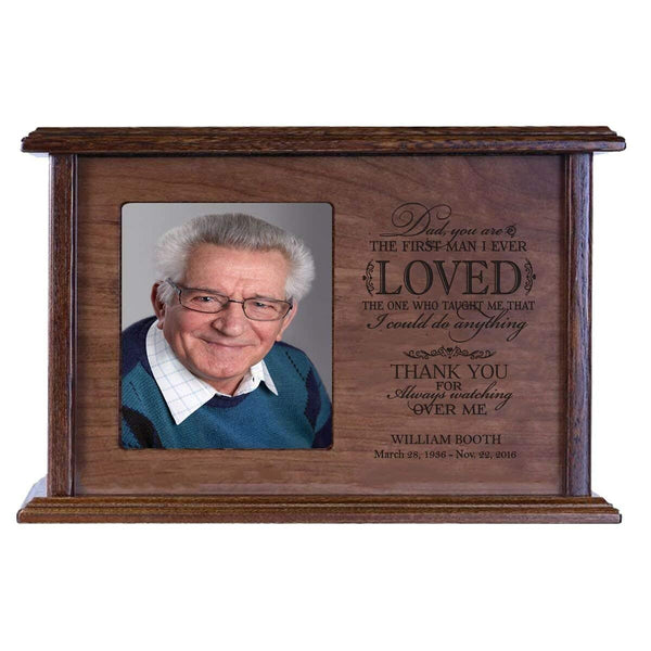 Cremation Urn for Human Ashes Made of Solid Wood Laser Engraved Verse Dad, You are the First Man i Ever Loved By LifeSong Milestones