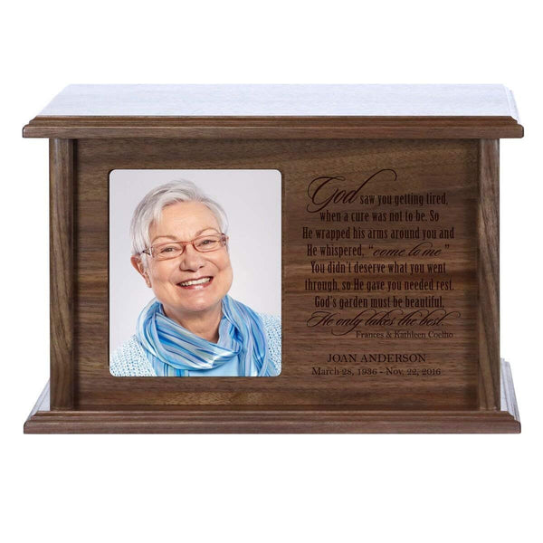 Cremation Urn for Human Ashes Made of Solid Walnut Wood Laser Engraved Verse God Saw You Getting Tired By LifeSong Milestones