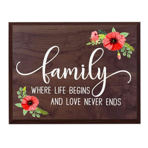 Housewarming Family Wall Hanging Plaque - Love Never Ends
