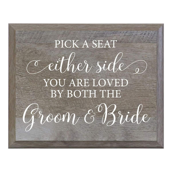 LifeSong Milestones Pick A Seat Not A Side Decorative Wedding Party signs for Ceremony and Reception for Bride and Groom (8x10)