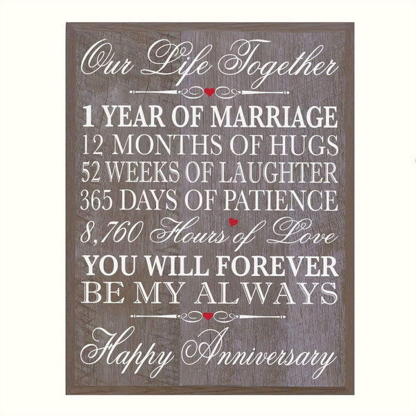 Digitally Printed 1st Anniversary Wall Decor Plaque - Our Life Together Barnwood