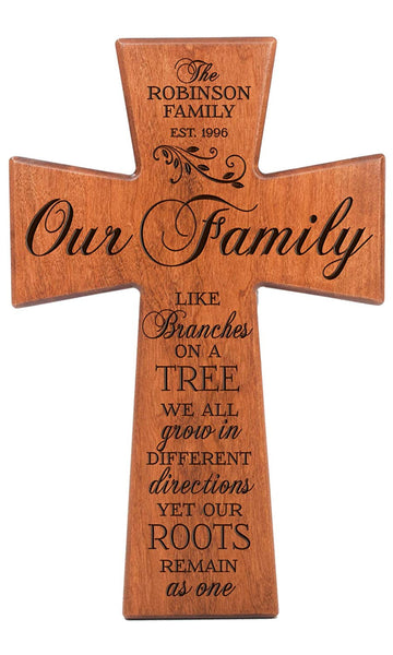 LifeSong Milestones Our Family Like Branches on a Tree, We All Grow in Different Directions Yet Our Roots Remain As One Cherry Wall Cross