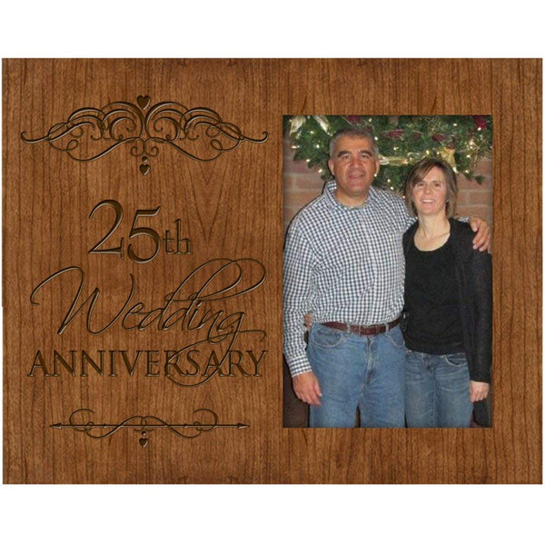 25th Wedding Anniversary Photo Frame Holds 4x6 Photo Cherry Wood