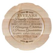 Personalized 35th Anniversary Maple Engraved Plates Milestones