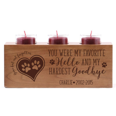 "Personalized Pet Memorial sympathy candle holder for dog, cat, pets custom bereavement wood candle holder for loss of pet 10"" L x 4"" H by LifeSong Milestones"