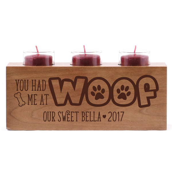 LifeSong Milestones Personalized Pet Candle Holder Solid Cherry Wood Votive Holder Made in the USA