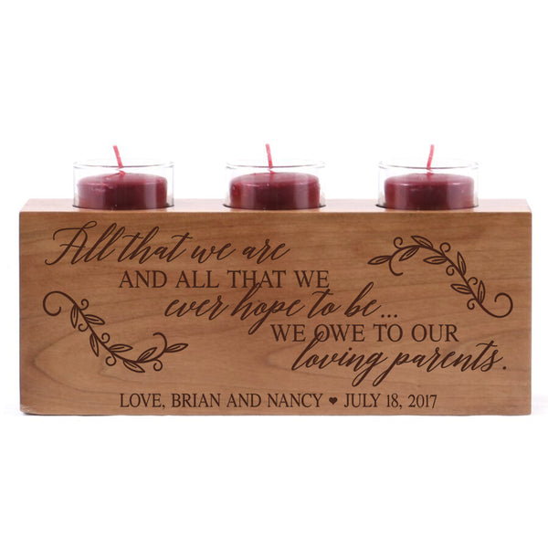 "Personalized wedding anniversary candle holder for him her custom engraved cherry wood engagement ideas for boyfriend or girlfriend One 10"" L x 4"" H"