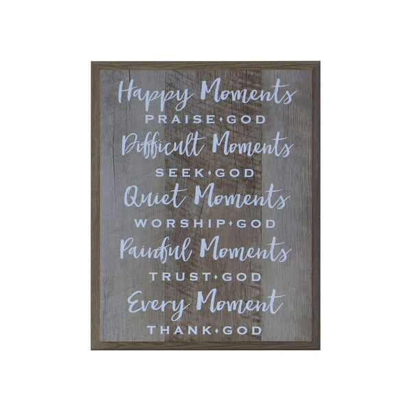 Happy Moments Gift for husband wife Parents, best friend, and Christian gift ideas 12 Inches Wide X 15 Inches High Wall Plaque By LifeSong Milestones (Pine)