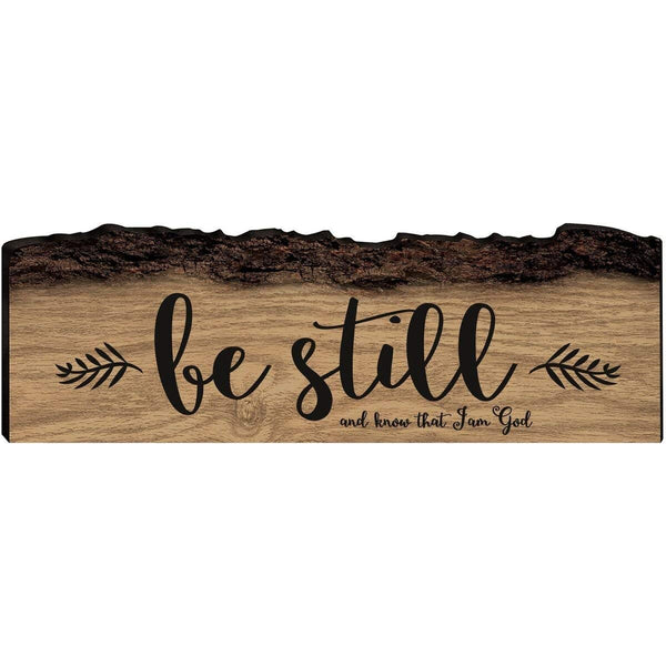 Home Decor Bark Wall Plaques - Uplifting Be Still