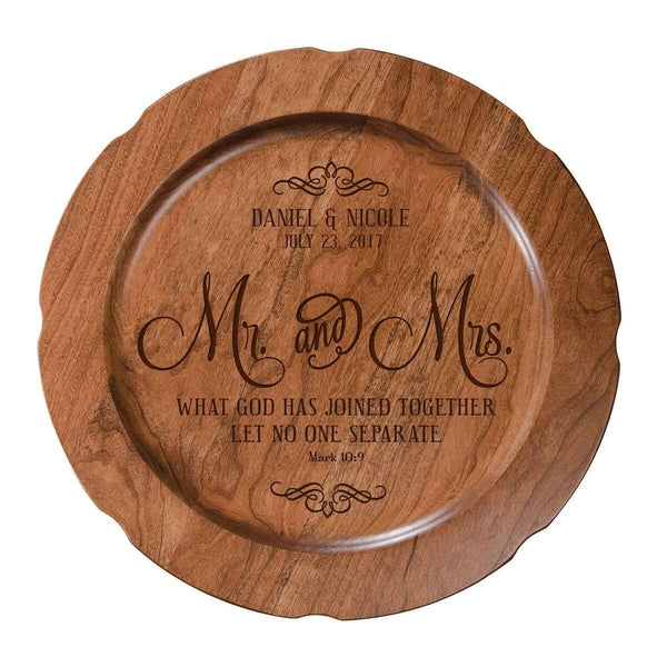"Personalized Mr & Mrs Wedding Plate Gift 12"" D Custom Engraved for Husband or Wife by LifeSong Milestones USA Made"