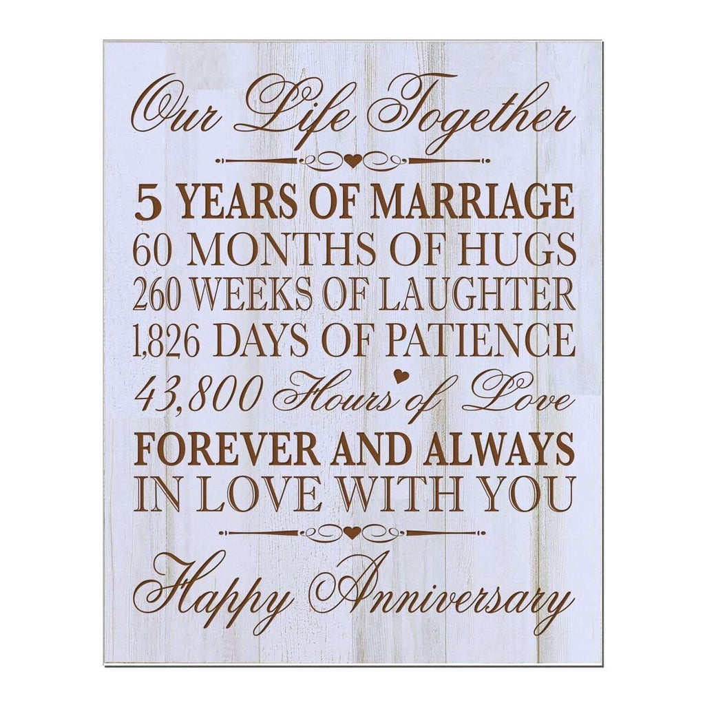 5th Wedding Anniversary Wall Plaque Gifts for Couple, 5th ...