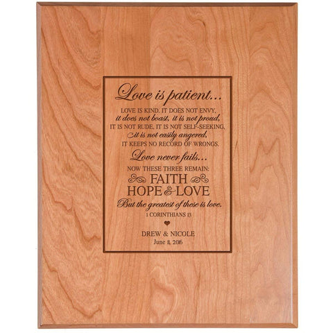 wooden anniversary wedding marriage gift love is patient