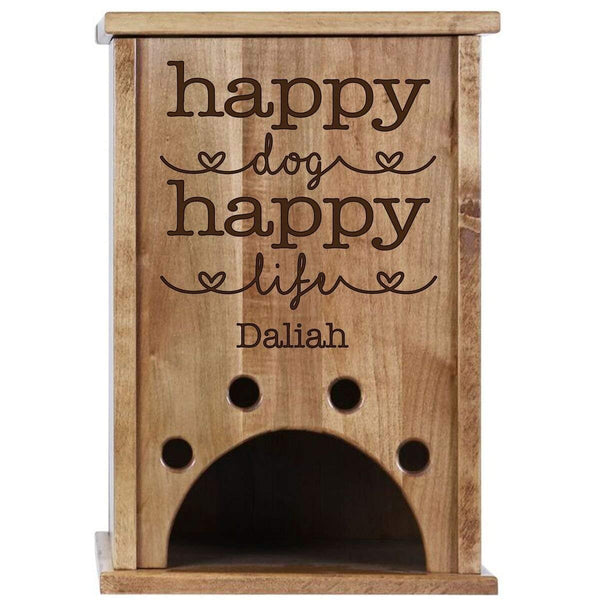 Personalized Pine Pet Toy Box - Happy Dog Happy Life Cherry