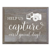 LifeSong Milestones Oh Snap Help Us Capture Our Special Day Decorative Wedding Party signs for Ceremony and Reception for Bride and Groom (8x10)