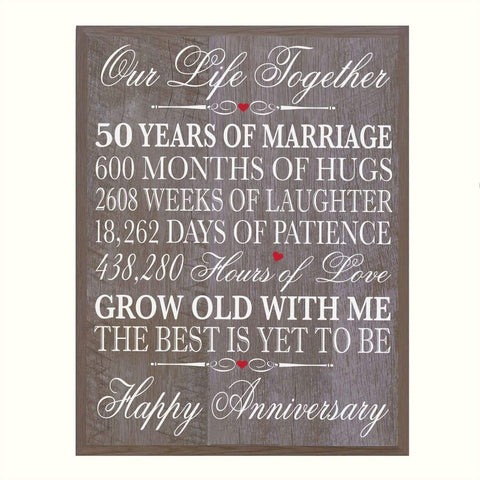 "LifeSong Milestones 50th Wedding Anniversary Wall Plaque Gifts for Couple, 50th Anniversary Gifts for Her,50th Wedding Anniversary Gifts for Him 12"" W X 15"" H Wall Plaque"