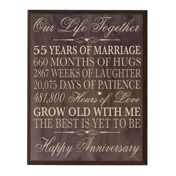 "55th Wedding Anniversary Wall Plaque Gifts for Couple, Custom Made 55th Anniversary Gifts for Her,55th 12"" W X 15"" H Wall Plaque By LifeSong Milestones (Grand Walnut)"