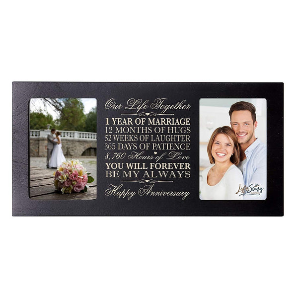 LifeSong Milestones 1st Wedding Anniversary Picture frame Gift with anniversary dates holds 2 4x6 photos
