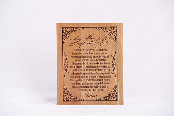LifeSong Milestones Shepherds Psalm Natural Cherry Finish Wood Memorial Wall Plaque Laser Cut