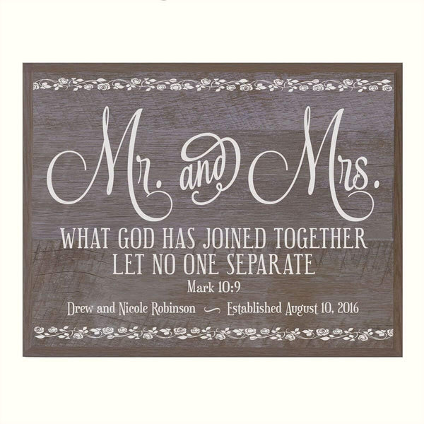 Personalized Wedding Anniversary Wall Plaque Gift - Mr. & Mrs.