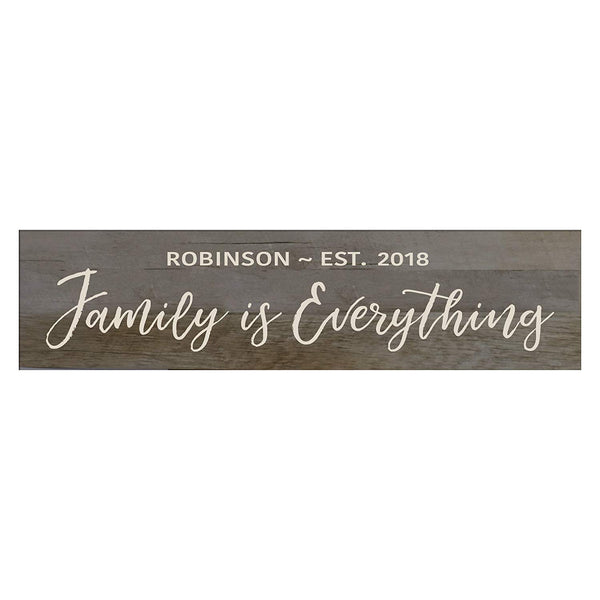 "LifeSong Milestones Family Is Everything Personalized Family Established Wall Signs, Last Name sign for home, Wedding, Anniversary, Living Room, Entryway 10"" H x 40"" L"