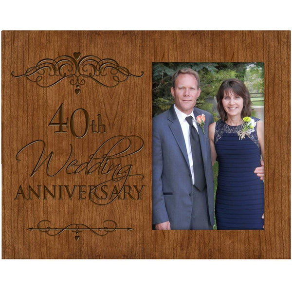 40th Wedding Anniversary Photo Frame Holds 4x6 Photo