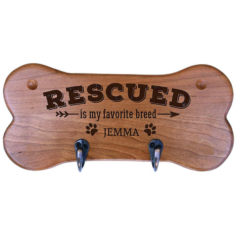 Personalized Dog Bone Storage Racks - Cherry Rescued Is My Favorite Breed