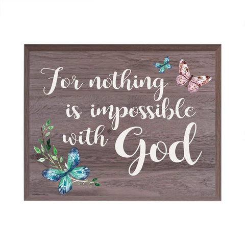 Digitally Printed Inspirational Wall Plaque - For Nothing Is Impossible Salt Oak