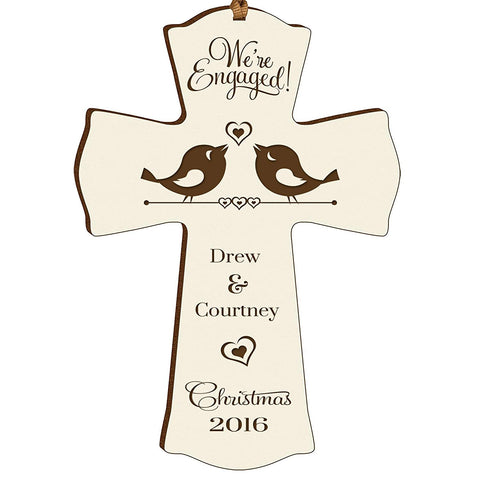 Personalized Christmas Engaged Wall Cross Ivory We're Engaged