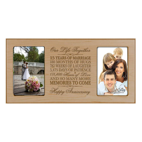 Wedding Anniversary Picture frame Gift holds 2 4x6 photos