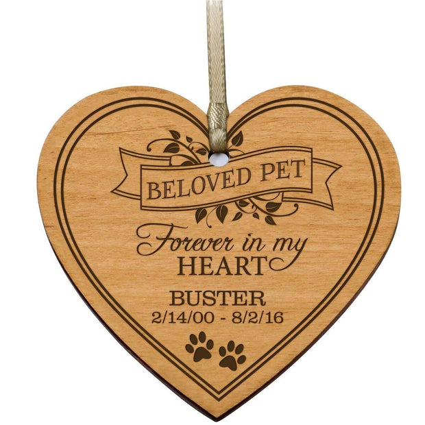 personalized wooden memorial memory pet dog cat heart