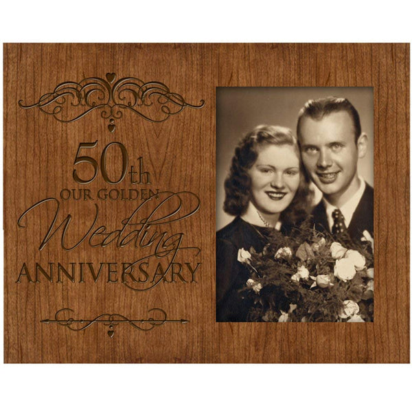 Personalized 50th Wedding Anniversary Photo Frame Holds 4x6 Photo Cherry Wood