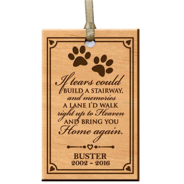 custom home memorial memory ornament gift pet dog cat if tears could